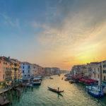 tramonto al canal grande venezia